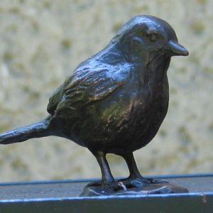 Bonte vliegenvanger - brons, ca 10 cm hoog